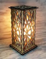 Соляной светильник Деревянный с узором 1,5 кг.